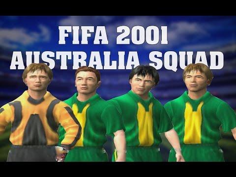 Fifa 2001 Australia Squads & Faces Viduka Okon Kewell Bosnich Agostino Lazaridis