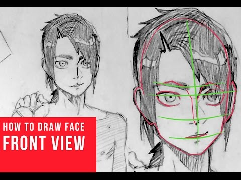 How To Draw Manga Face Frontal View [Real Time]