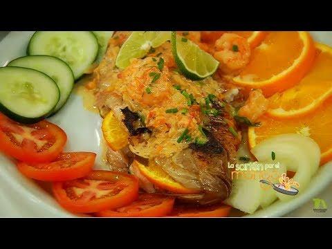 filete de pescado relleno de camaron y queso