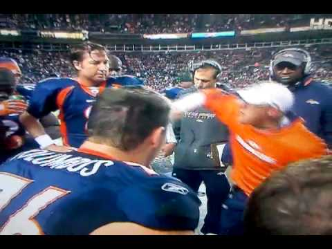 Josh McDaniels swears at players during a game.
