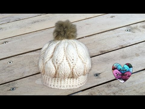Bonnet feuilles en relief magnifique 1/2 / Beanie (hat) leaf stitch (english subtitles)