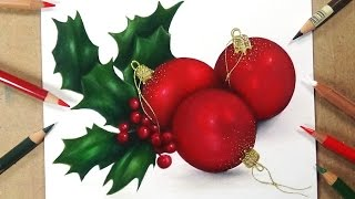 Drawing Christmas Holly & Baubles 🎅Advent Day 20🎄