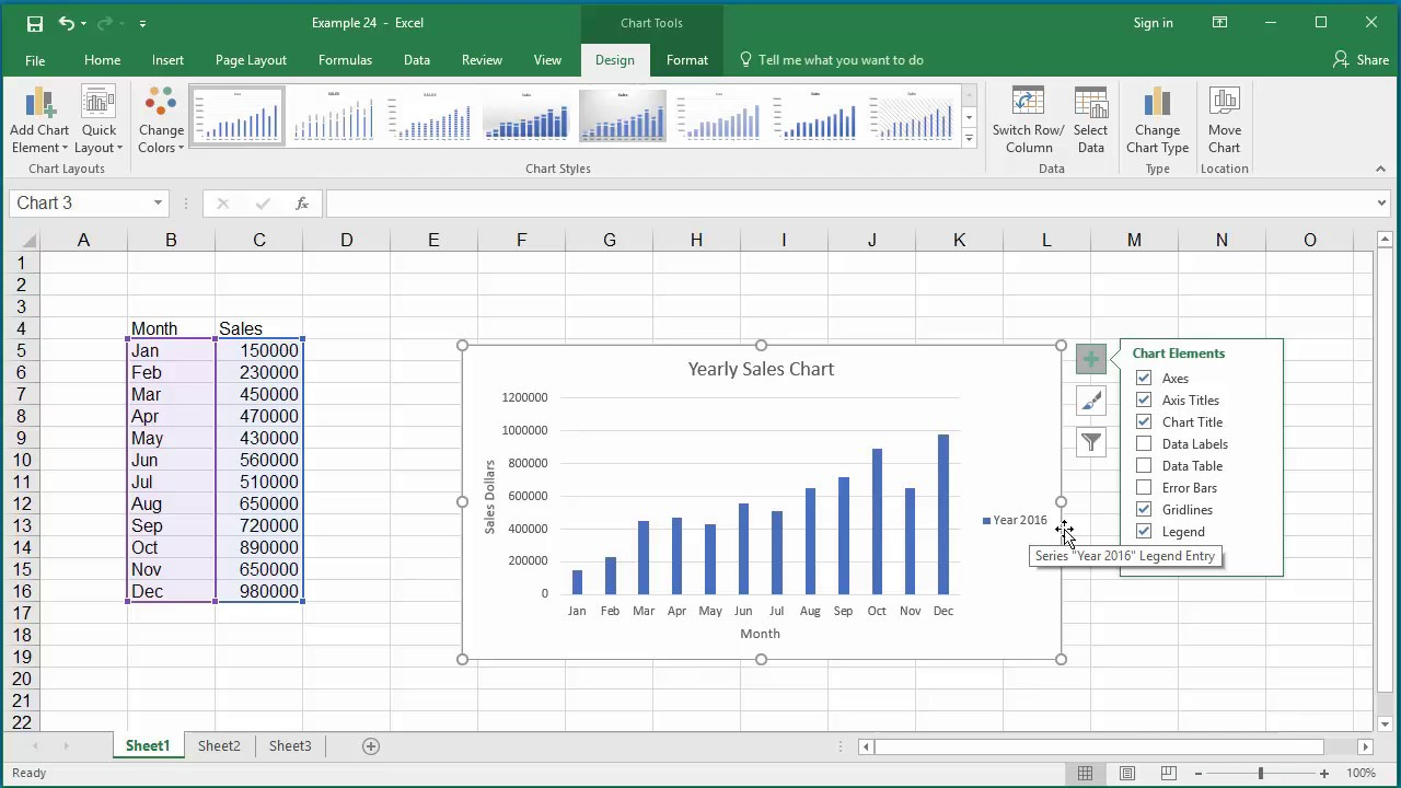 How to Change Elements of a Chart like Title, Axis Titles, Legend etc in  Excel 2016