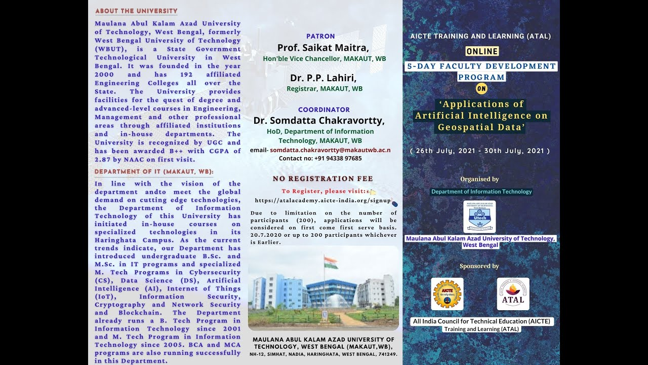 5-DAY Faculty Development Program on  'Applications of Artificial Intelligence on Geospatial Data'