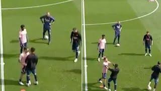 Ceballos nketiah fight in warm-ups | fulham vs arsenal