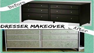 diy  dresser makeover with glitter ikea hack