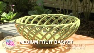 Medium Fruit Basket - Eucalyptus Stoneware - Gift And Garden USA