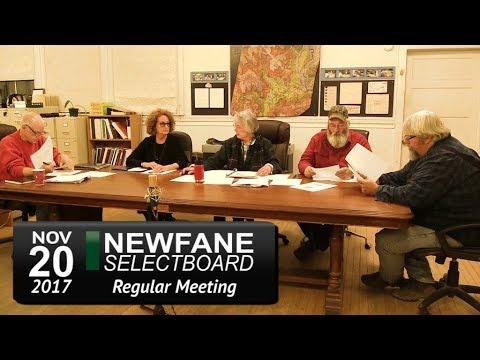 Newfane Selectboard Meeting 11/20/17