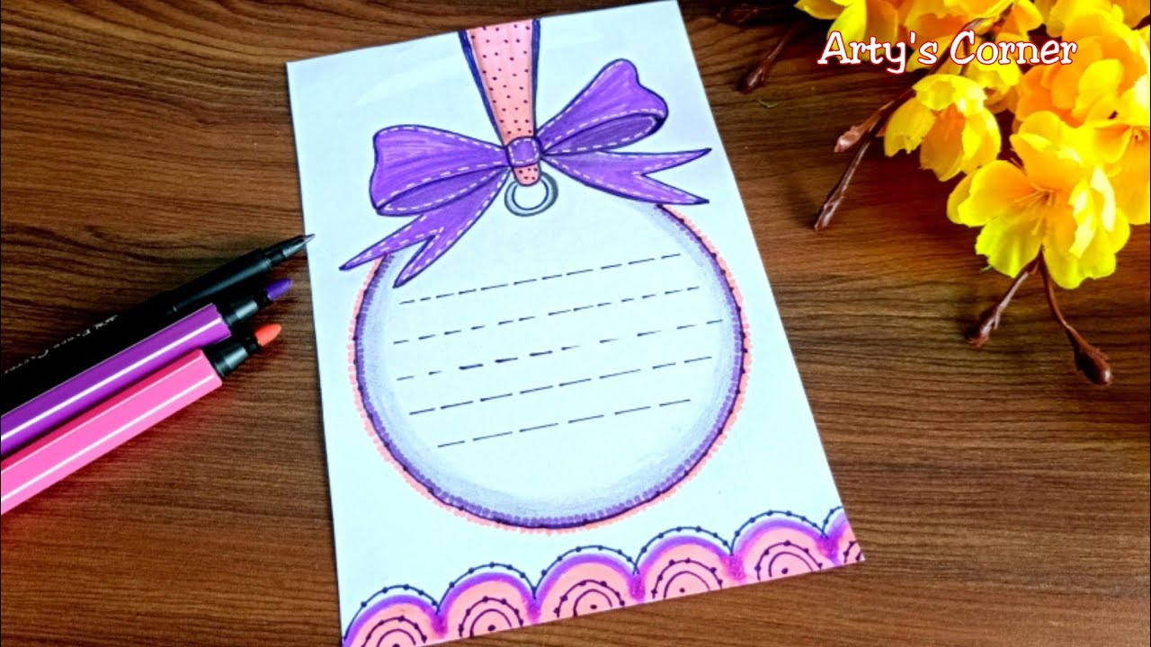 ribbon draw   border design on paper   front page design
