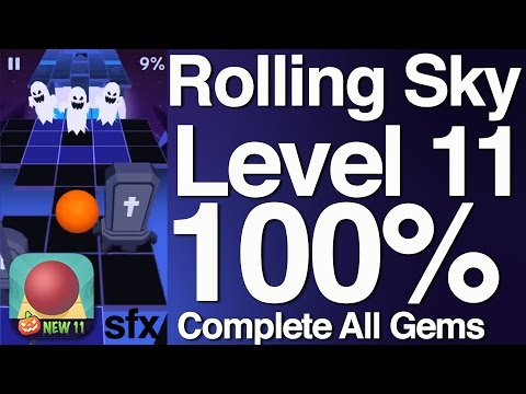 Rolling Sky Level 11 100% Complete All Gems
