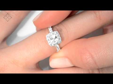 1.30ct White Gold Princess Cut Diamond Halo Ring