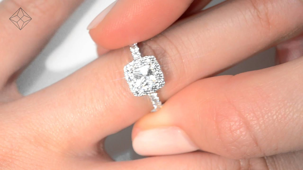 Beautiful Aria White Gold 1 30ct Princess Cut Diamond Halo Ring