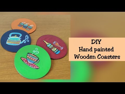 DIY - Hand painted Wooden Coasters