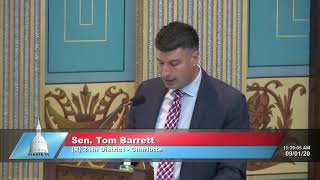 Sen. Barrett addresses the Senate on COVID-19 Recovery