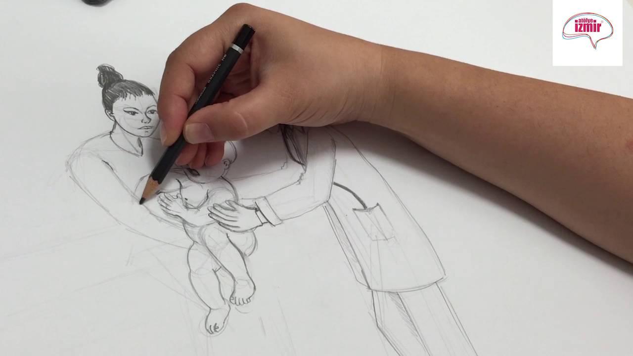 Karakalem Imgesel Kompozisyon çizimi Youtube
