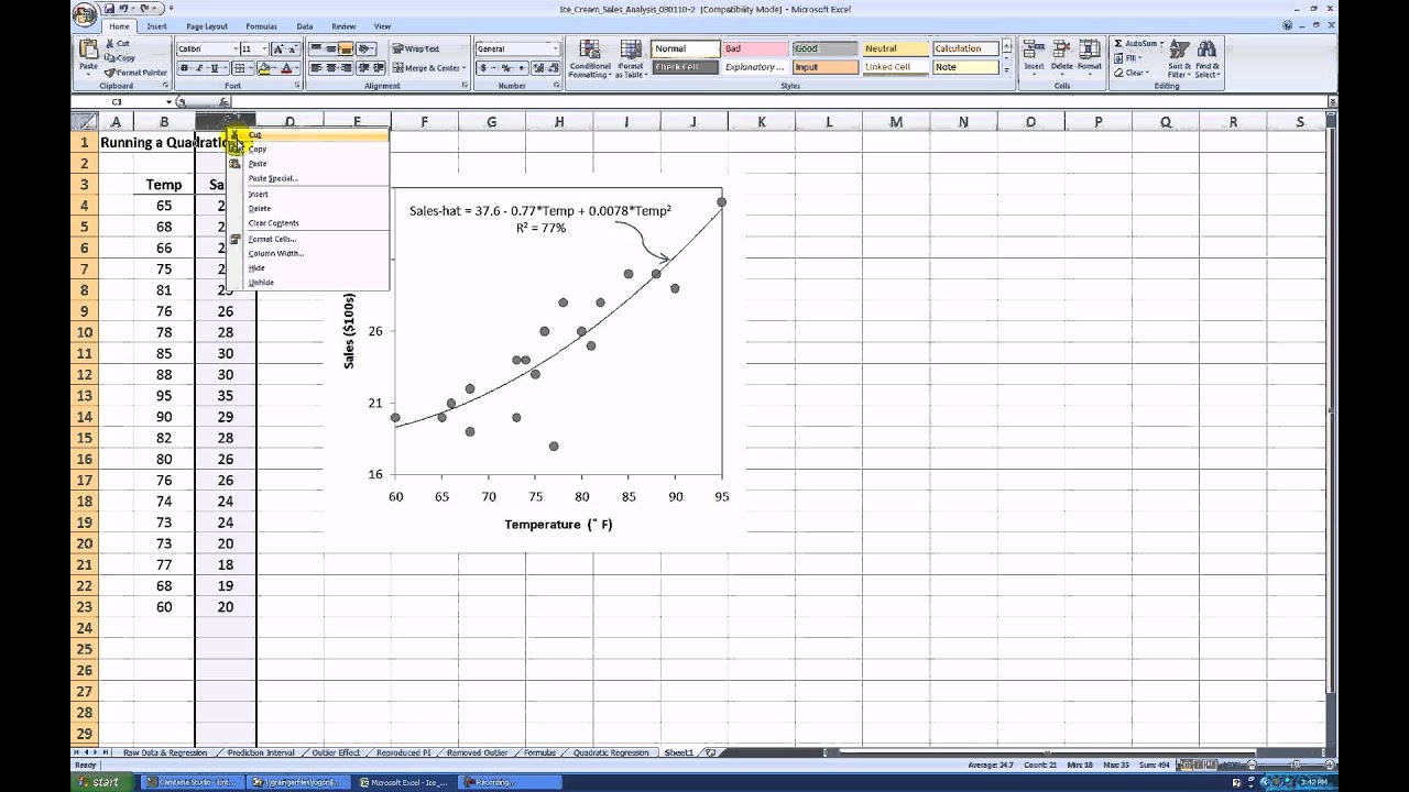 How to Run a Quadratic Regression in MS Excel 2007 - YouTube