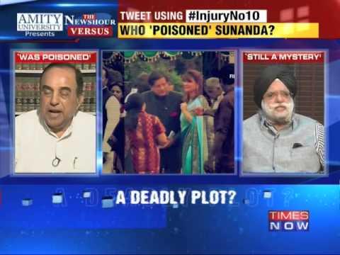 The Newshour Versus:Sunanda Pushkar death - Subramanian Swamy vs KTS Tulsi (10th Oct 20140