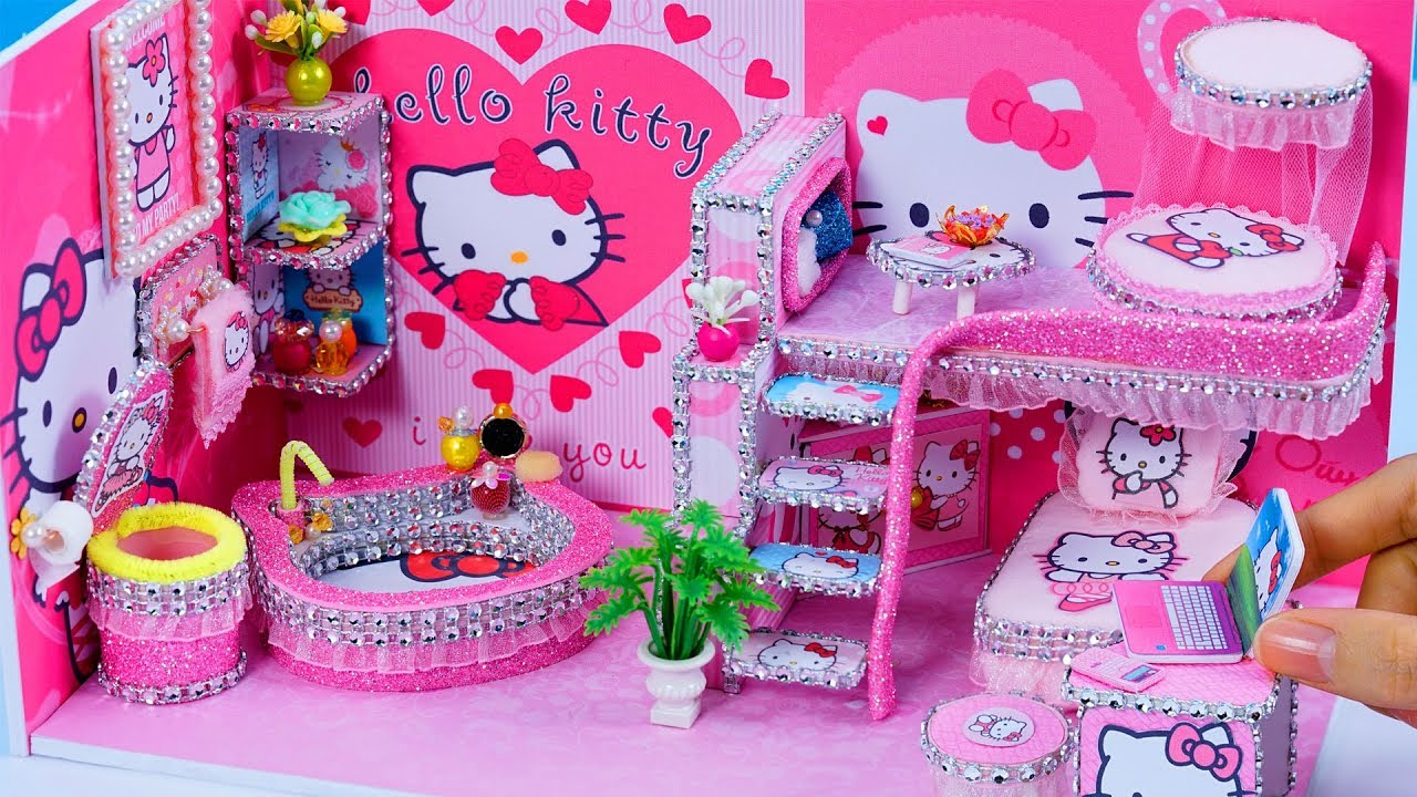 Diy miniatures dollhouse bathroom and bedroom hello - Decoration hello kitty chambre bebe ...