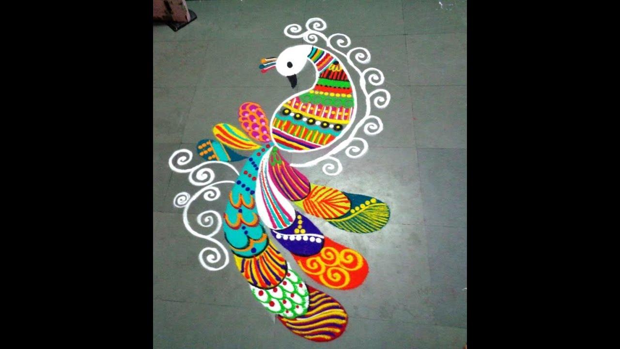 Beautiful Fancy Peacock Latest Rangoli YouTube