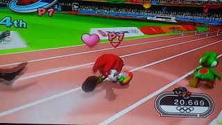 Mario and sonic at the Olympic games 400m hurdles Knuckles