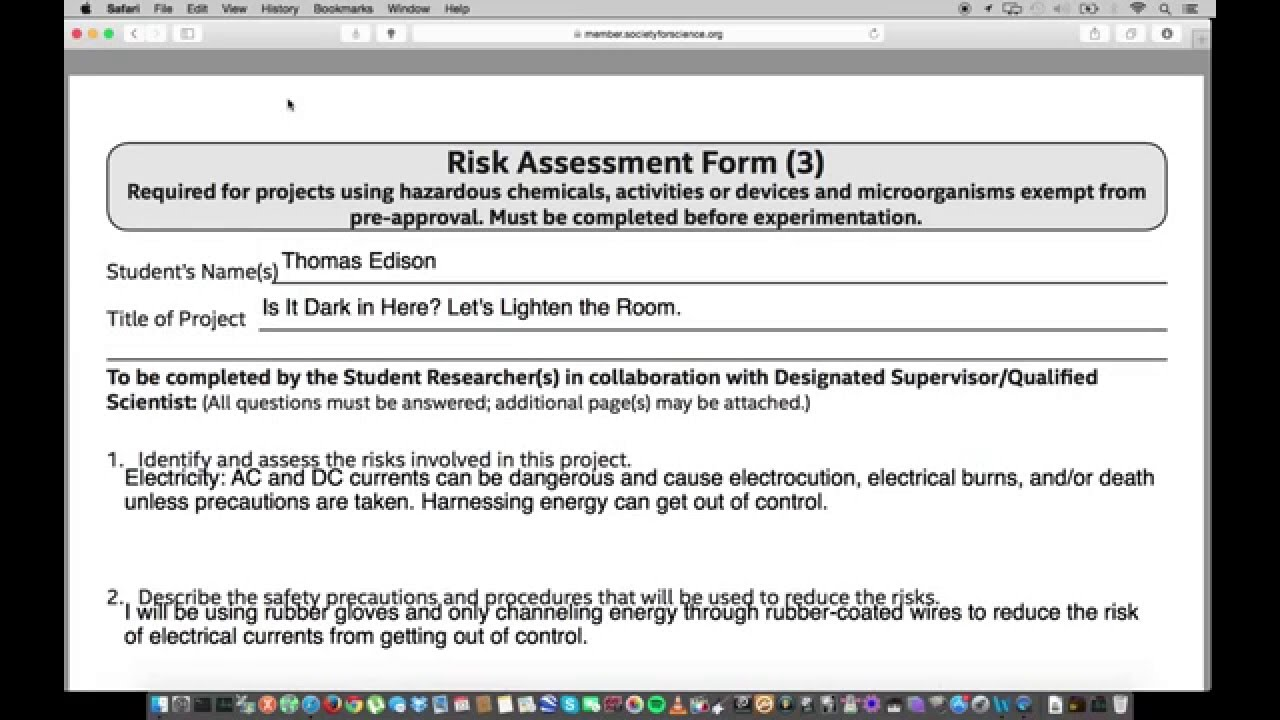 Isef Paperwork Help Form 3 Risk Assessment Form Youtube