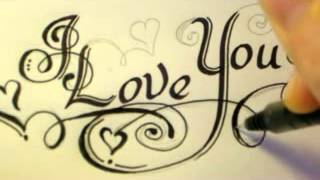 How To Draw Fancy Swirly Italic LOVE YOU Letters