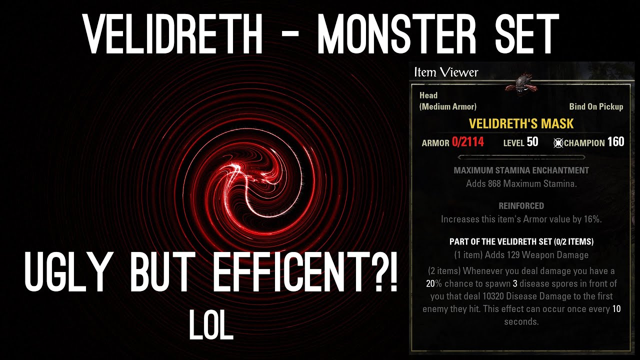 velidreth showcase one of the strongest monster sets youtube
