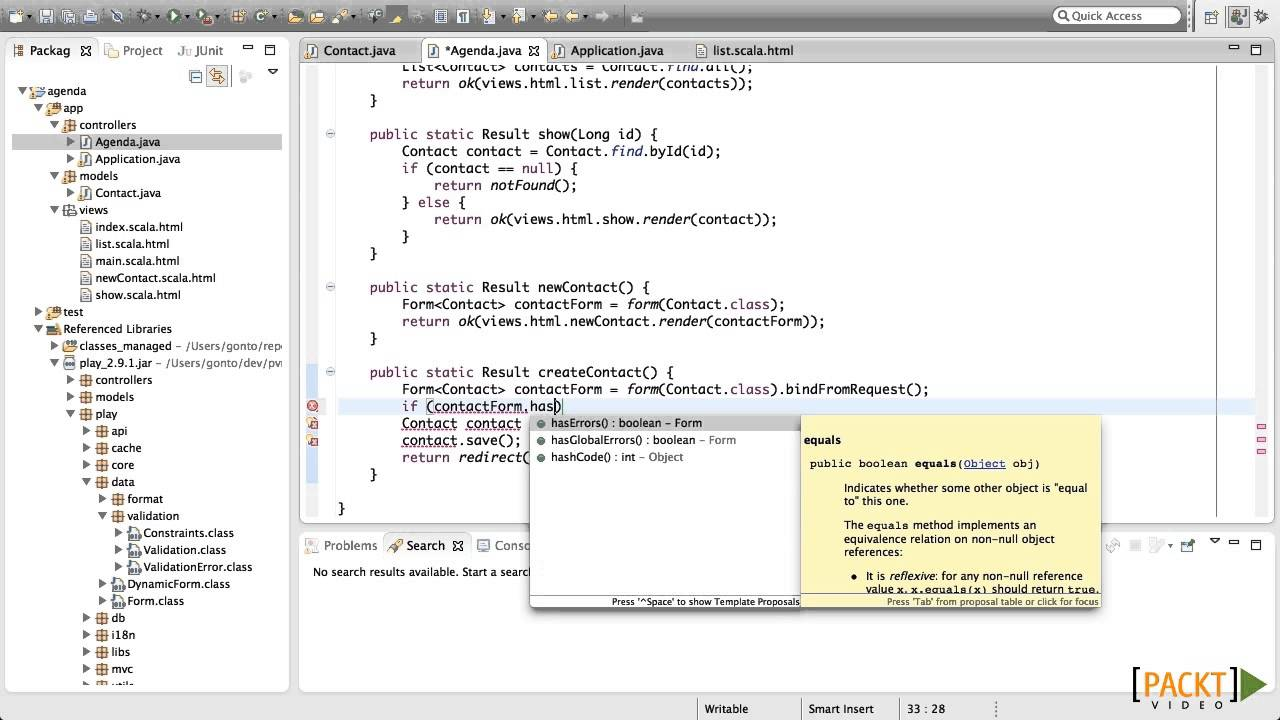 play! framework for web application development tutorial: validating