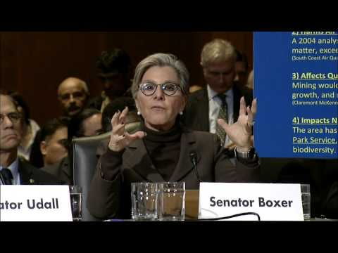 Senator Boxer Testifies Before the Senate Energy and National Resources Subcommittee on Public Lands