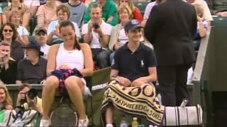 Jelena jankovic having fun with ball boy