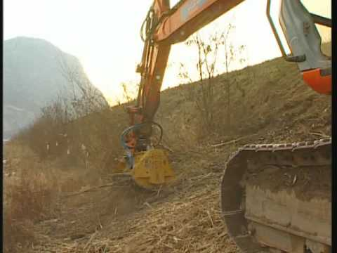 SEPPI M. - BMS (forestry Mulcher For Excavator Mounting) Mulching Wood And Piles Of Brush Wood