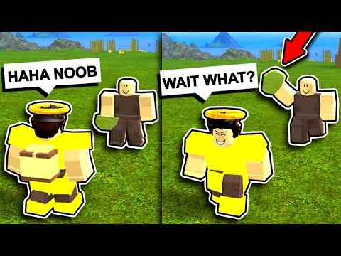 NOOB w/ *INVISIBLE* GOD ROCK TROLLING #2! (Roblox Booga Booga)