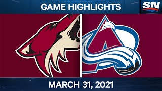 NHL Game Highlights | Coyotes vs. Avalanche - Mar. 31, 2021