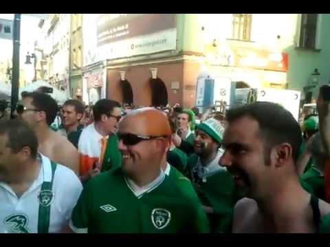 Irish fans sing to policewoman