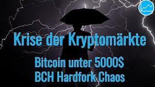 Markt Crash: BTC unter 5000$, BitcoinCash Hardfork Chaos