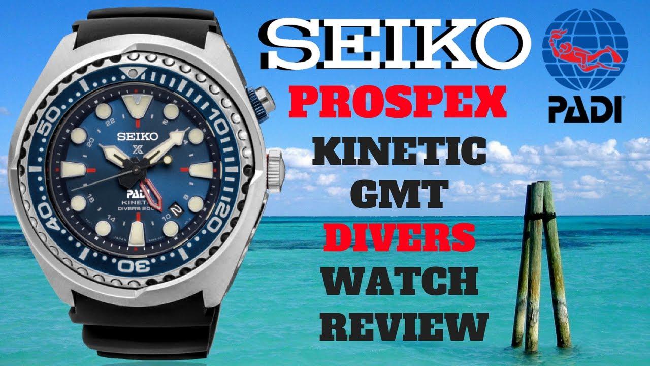 4k Seiko Prospex Padi Kinetic Gmt Divers Watch Review Model Sun065