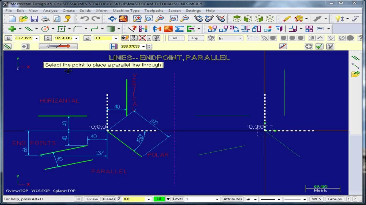 Mastercam x5 mill line telugu tutorial 3 youtube for Interior design 7 0 tutorial
