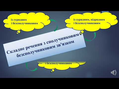 Українська мова. Складне речення з різними видами зв'язку. 9 клас