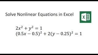 Solve Nonlinear Equations with Microsoft Excel