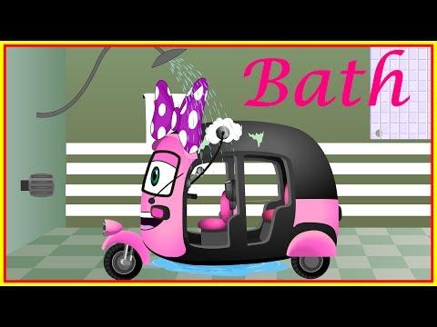 Mega Auto Rickshaw Family Having a Bath   Finger Family nursery rhymes collection for kids