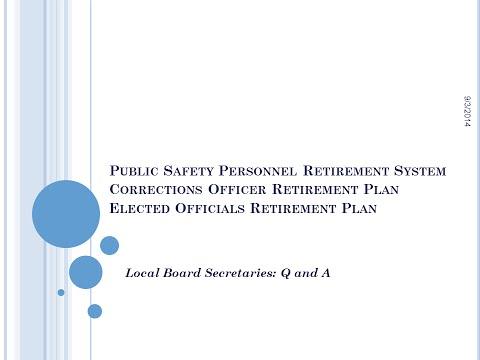 Arizona PSPRS Local Board Training: Local Board Secretary Q and A
