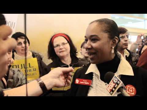 Senator Lena Taylor speaks to supporters