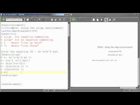 LaTeX Tutorial 05 using the align environment