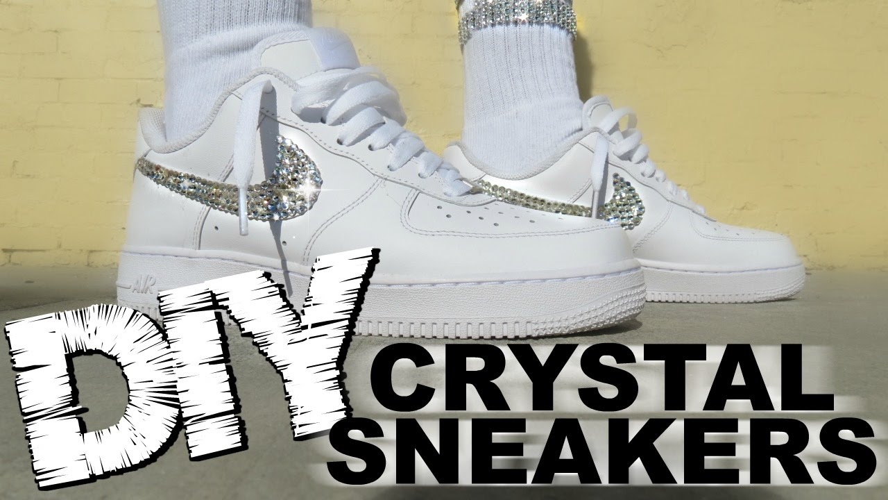 DIY CRYSTAL NIKES How to bedazzle sneakers with On Feet (AF1)