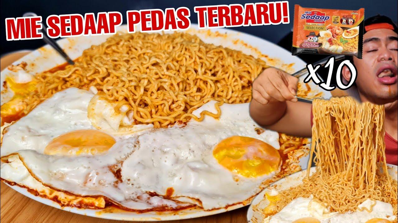 GILAA! MUKBANG 10 BUNGKUS MIE SEDAAP SPICY LAKSA SINGAPORE SUPER PEDAS!!