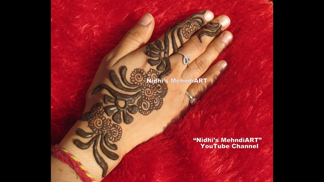 Flower Mehndi Designs For Back Hands : Bold dark thick gulf style back hand henna mehndi design