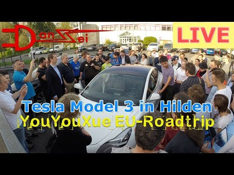 LIVE: Hands-on Tesla Model 3 in Deutschland am Ladepark Kreuz Hilden - You You Xue auf EU-Roadtrip