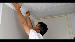 Installing Ceiling Tiles with Existing Crown Moldings - Guide - Talissa Decor