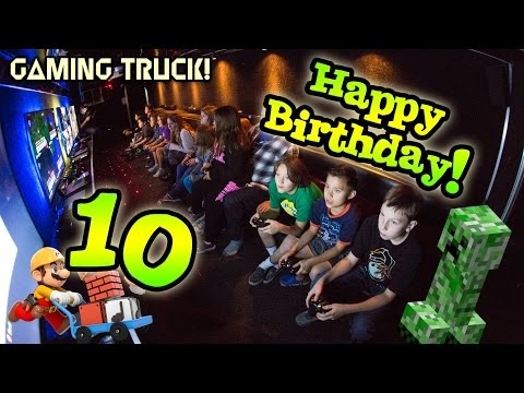 Evan's 10th Birthday! GAME TRUCK ACTION + PIE FACE On Friends!!!