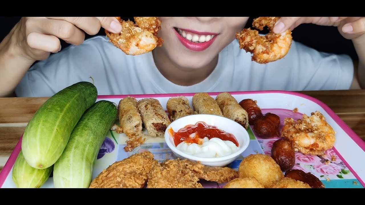 ASMR CHICKEN HOT WINGS, GRAVY MASHIES, MINI SAUSAGE, SHRIMP, SPRING ROLLS Sounds